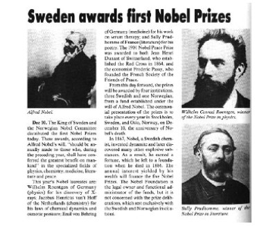 Who was first nobel prize winner