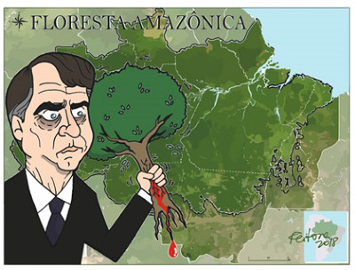 Image result for jair bolsonaro cartoon amazon burns
